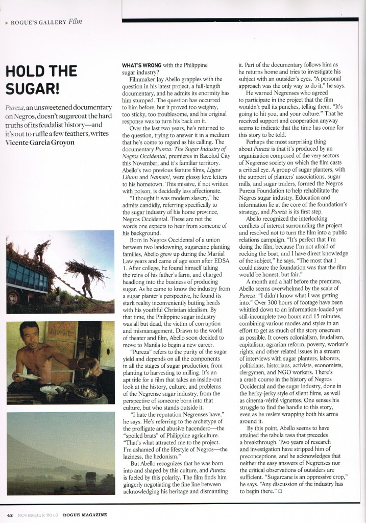 Pureza article in Rogue magazine written by Vince Groyon